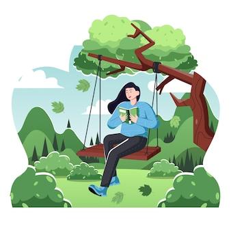 Женщина качается и радует книжную плоскую иллюстрацию