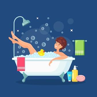 Woman take a bath.