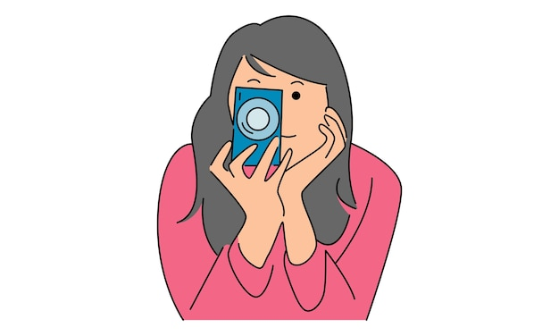 Woman take a picture with digital camera
