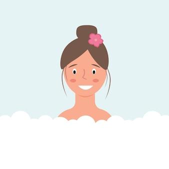 Женщина принимает ванну спа мыльные пузыри векторное изображение
