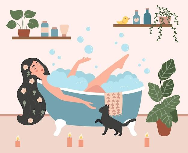 泡の泡で居心地の良いバスルームでお風呂に入る女性。セルフケアとリラックスのコンセプト。