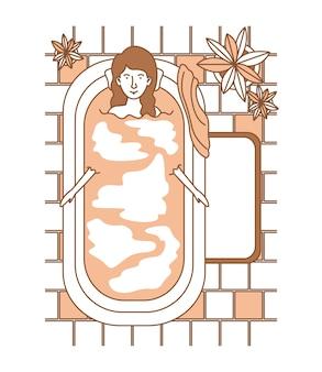 女性、観葉植物、浴槽
