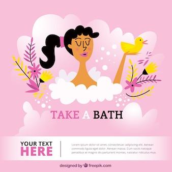 プラスチック製のアヒルと一緒にお風呂を取って女