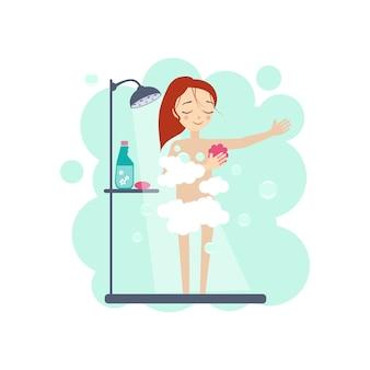 シャワーを浴びている女性。