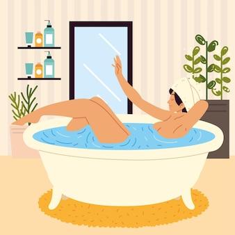 バスルームでお風呂に入る女性