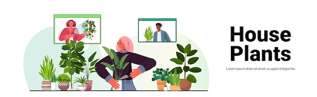 Woman taking care of houseplants housewife discussing with mix race friends in web browser windows during video call portrait copy space horizontal