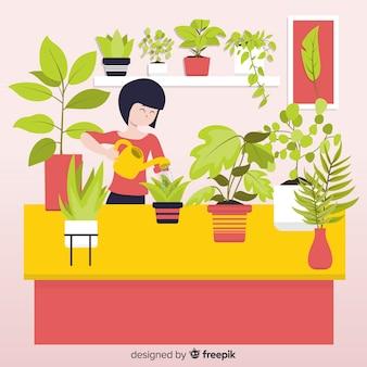 식물을 돌보는 여자