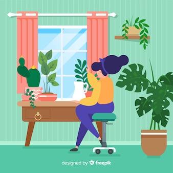 Женщина заботится о растениях