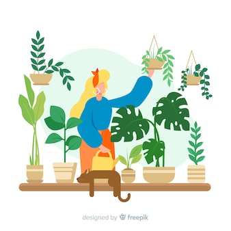 Woman taking care of plants