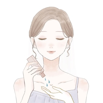 피부 관리를 위해 오일을 복용하는 여자. 흰색 배경에.
