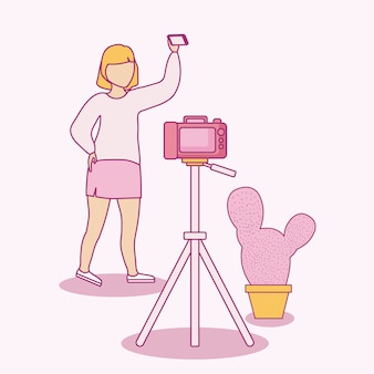 Woman taking selfie with smartphone and photographic camera