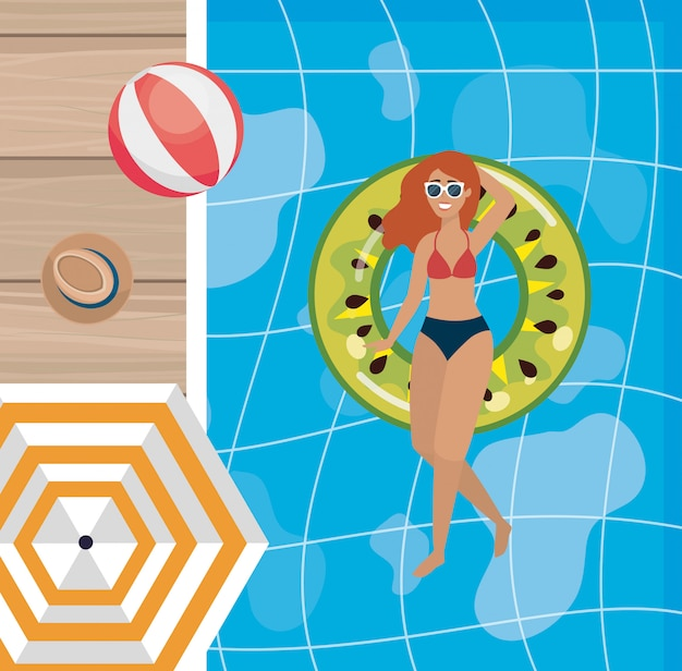 Woman taking sun in the pool