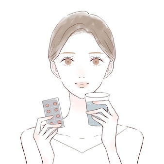 Woman taking tablet type medicine. on a white background.