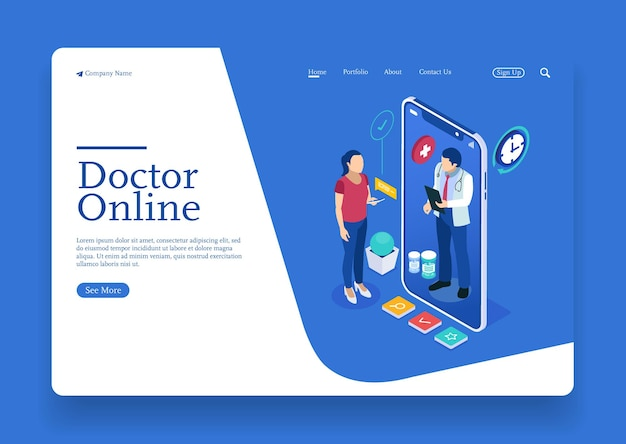 A woman talk to doctor about medical health online isometric concept with character