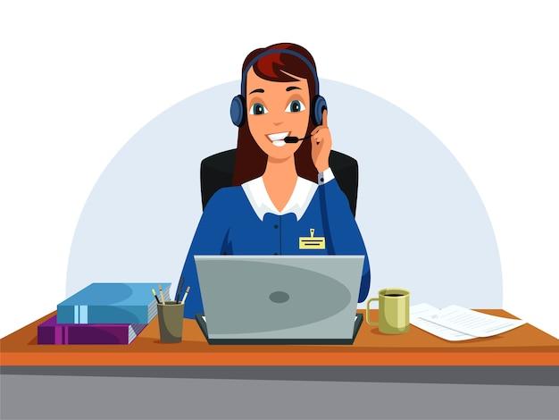 ヘッドフォンのイラスト、予約オフィス、コールセンターで話している女性。