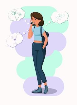 Женщина разговаривает по телефону. милая девушка рассказывает о своих планах на отпуск. современный образ жизни и коммуникационная концепция иллюстрации в векторном мультяшном плоском стиле.