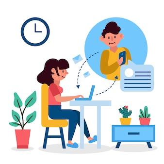 Женщина разговаривает онлайн с другом