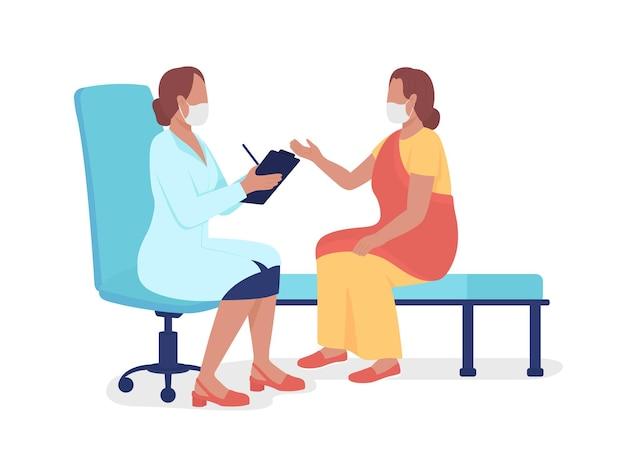 Женщина разговаривает с медицинским работником полу плоских цветных векторных символов