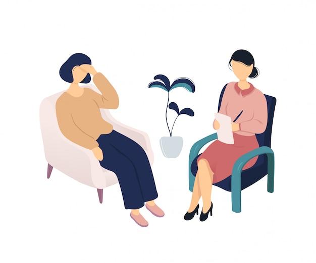 Женщина разговаривает с психологом