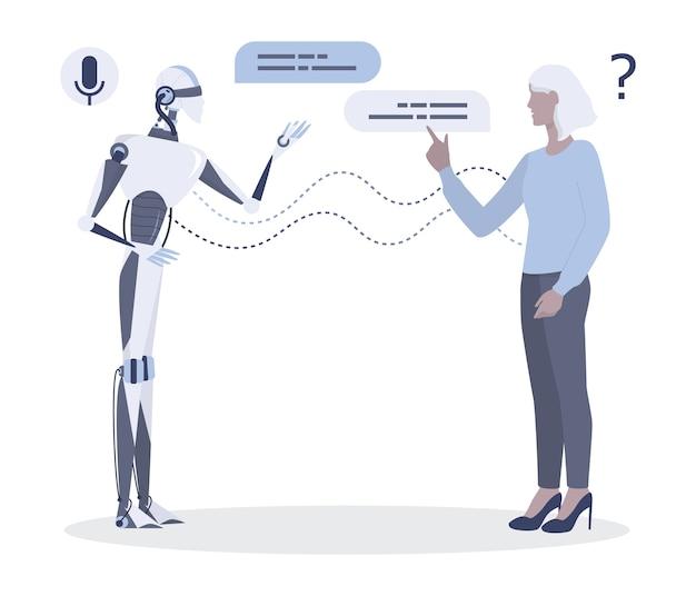 로봇에 얘기하는 여자. 여성과 인공 지능 간의 대화. 챗봇 및 기술 지원 개념. 삽화