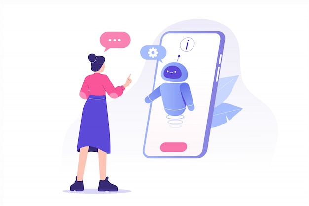 Woman talking with chat bot in a big smartphone screen