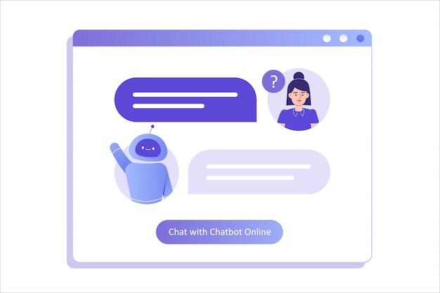 Woman talking with chat bot in a big user interface