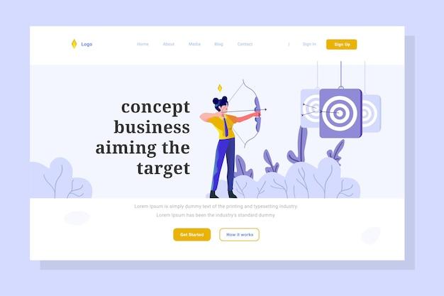 Woman targeting market goals landing page business finance flat gradient design style illustration