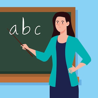 Woman teacher and chalkboard in classroom
