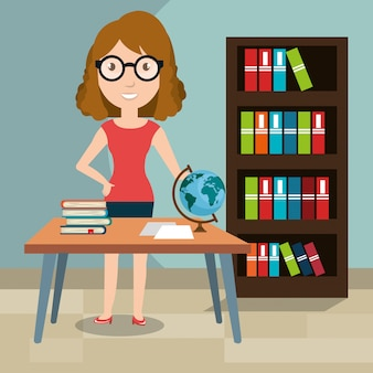 Woman teacher in the classroom