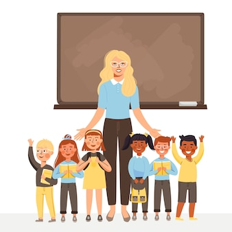 Woman teacher and group of kids stand at blackboard.
