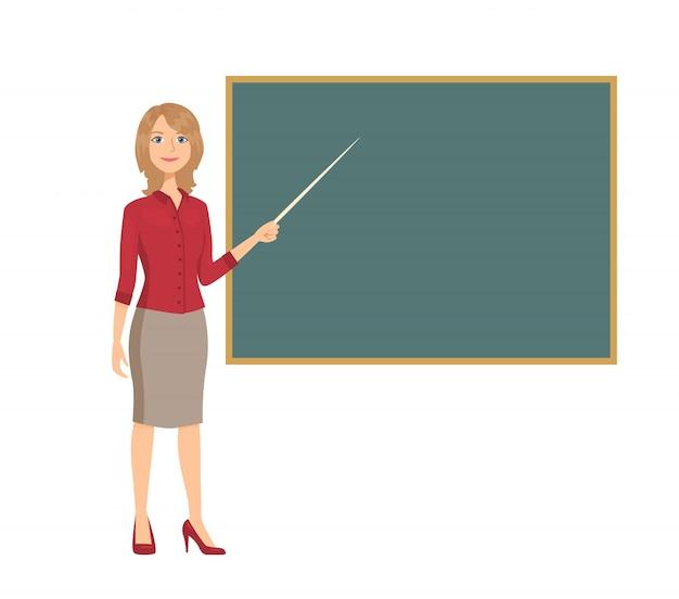 Woman teacher holds pointer showing on blackboard.
