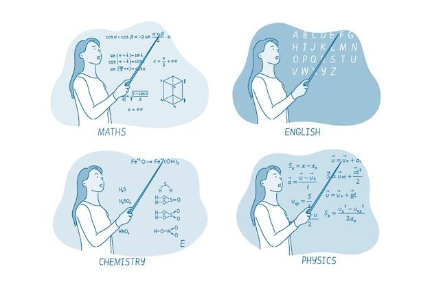 Женщина-учитель физики объясняет информацию
