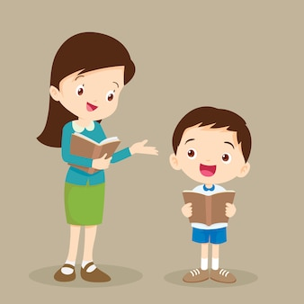 Woman teacher tutoring student reading