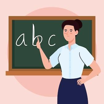 Учитель женщина с классной доской в классе