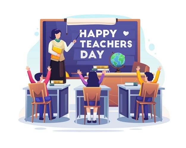Женщина-учитель объясняет жест возле доски в классе на иллюстрации ко дню учителя