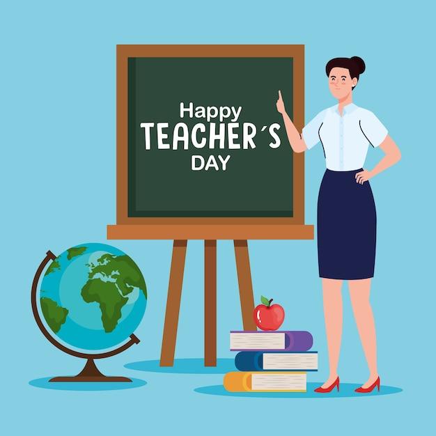 グリーンボードとブックデザイン、幸せな教師の日のお祝いと教育をテーマにした女教師