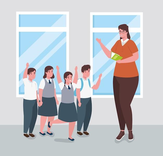 Женщина-учитель с группой студентов в классе