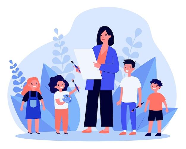 Женщина учит детей рисовать в плоском дизайне
