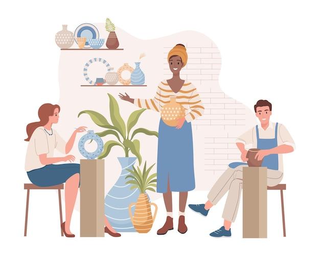 Женщина учит людей на уроках гончарного дела плоской иллюстрации