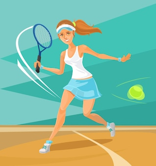 Woman tennis player flat illustration