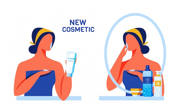 Woman testing new cosmetics for face and body