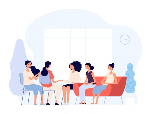 女性療法。心理学者と相談している女性はグループで精神科医にカウンセリングする女性を落ち込ませました。精神分析の概念