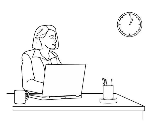 ノートパソコンを持って机の上のオフィスを見上げて考えている女性。白い背景で隔離の黒のベクトル図