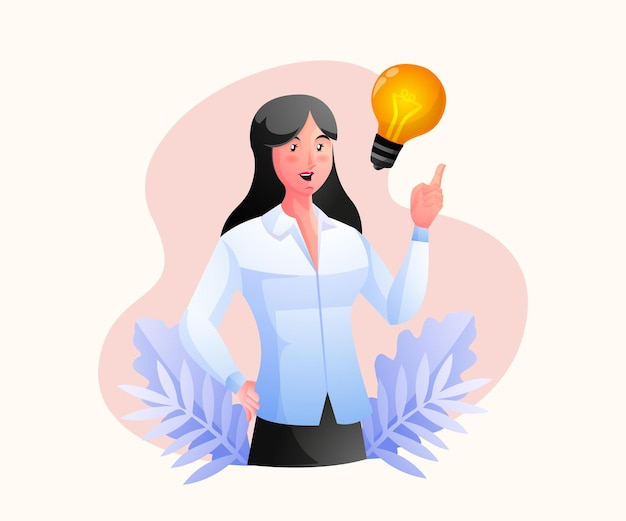 Женщина думает и находит концепции решения проблем с помощью лампочки