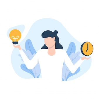 Woman thinks about time and idea  illustration