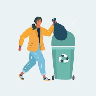여자는 용기에 유기농 쓰레기를 버립니다.