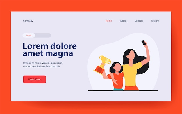 Woman and tiny girl broadcasting their victory. landing page in flat style.