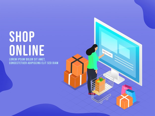 Woman touching add to cart button in desktop screen with trolley, carry bags and parcel boxes on blue background for online shopping concept.