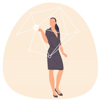 ホログラム仮想画面に触れる女性