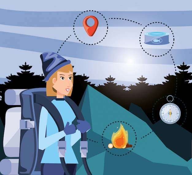 Woman tourist in camping zone with set icons